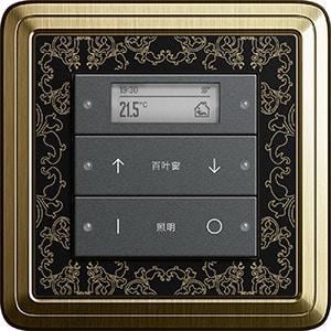 Gira Tastsensor 3 Plus, anthrazit mit laserbeschrifteten Wippen, ClassiX Art, Bronze-schwarz, Sprache: CN